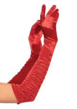 LA-16B Sexy Red Satin Extra Long Opera Prom Evening Burlesque Gloves