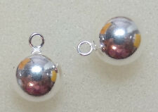 8mm Seemless Sterling Silver Ball INTERCHANGEABLE Earring Charms ONE PAIR