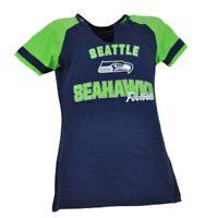 NFL Seattle Seahawks Womens Ladies Tshirt Tee Blue Short Sleeve V Neck Green