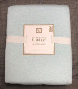 Pottery Barn Teen Favorite Tee Queen Sheet Set  NWT Heathered Aqua Blue