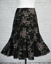 Monsoon Skirt Long Brown Green Floral Fishtail 12 Cotton Needlecord Corduroy