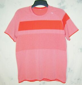 Men's Lululemon athletica LARGE Fade Red Stripe Dri Fit Active Shirt FAST SHIP!
