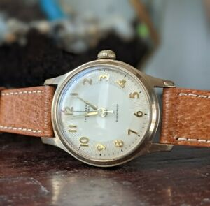 Vintage Gents Ingersoll Gold Plated Guilloche Style Dial Wind Watch - Working
