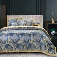 4 Pieces Cotton Satin Duvet Cover Paisley Bedding Bedspread Sheet Pillowcase