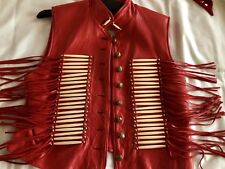 Women's Western/Cowgirl Red Leather Fringe Vest Sz Lg. Fully Lined! USA Mint!