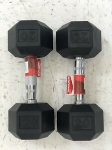 New WEIDER 20 LB Rubber Hex Dumbbell Set (2 Dumbells, 40 Total lbs) Free Weights