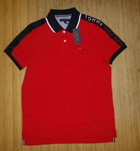 NWT Mens Tommy Hilfiger S/S Polo Shirt~RED / NAVY~SZ MED