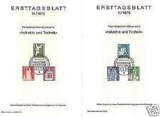 Berlin 1975: Industrie & Technik Nr. 494+501+503-506 auf zwei Ersttagsblättern!