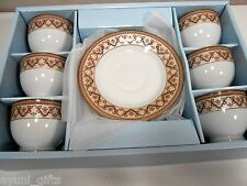 Fine Porcelain Teacups Tea Coffee Cups and Saucers Elegancy China Copper Band