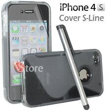 Cover Custodia Silicone Gel TPU S-Line Grigio Per iPhone 4/4G/4S + Pellicola Pen