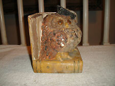 Vintage Owl Bookend-Large Heavy Plaster-Owl W/Graduation Cap-Open Book Display