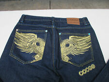 "COOGI Mens Jeans Denim 36"" 31"" Phoenix Bird Sword Gold Stitching Zip Fly"