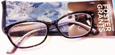 New! Foster Grant Kayleen Blue 2.50 Reading Glasses W/Soft Case. FREE Ship!