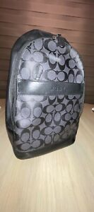 Coach black leather & signature coated canvas sling bag  - Guaranteed Authentic