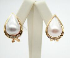 14K YELLOW GOLD VINTAGE MABE PEARL TEAR DROP DIAMOND EARRINGS 23mm-16.5mm 11.5gr