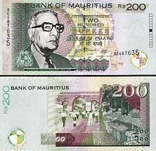 MAURITIUS 200 RUPEES 2007 UNC 2 PCS CONSECUTIVE PAIR P.57b
