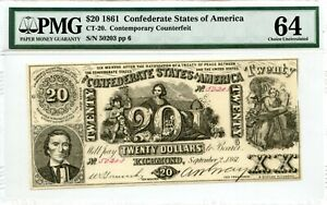 1861 $20       Counterfeit  Confederate Currency  CT-20   PMG 64