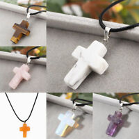 Crystal Cross Natural Stone Quartz Pendant Necklace Healing Point Chakra Leather