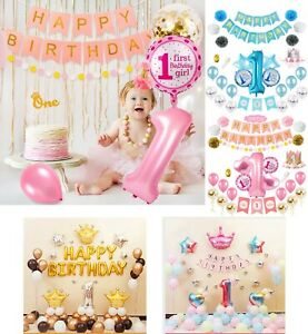 1st Birthday Theme Sets Pretty Party Decorations Supplies Balloons Baby Shower