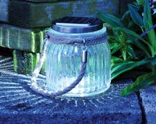 Garden Solar Powered LED Cornish Hanging Glass Jar Rope Light Lantern Table Lamp