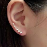 Ear Climbers Crawler Gold or Silver Bar Shape Crystal Hook Cuff Jacket Earrings