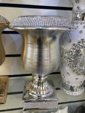 Small Silver Vase Ceramic Beautiful Gift Diamante Valentines Gift