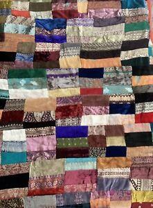 Velvet Velour Patchwork Quilt Hippie Boho 92x108 Jacquard Rectangle Block