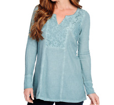 ONE WORLD WOMEN'S OIL WASH BLUE LONG SLEEVE W/ LACE THERMAL TOP PLUS Sz 3X