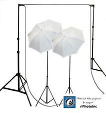 Video Photo Studio lighting Kit & White Muslin Background System Support Ref