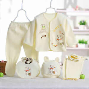 5pcs Newborn 0-3 Months T-shirt Top+Pants Set Baby Boy Girls Outfit Kids Clothes