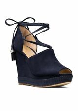 MICHAEL Michael Kors Hastings Suede Admiral Blue Ankle-Wrap Wedge Sandal Size 8