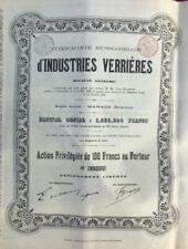 Actions Compagnie Russo-Belge d'industrie verrière 1899-1917