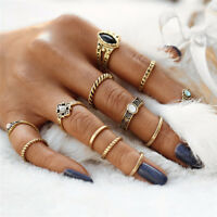12Pcs/Set Lot Vintage Women Gold Silver Boho Midi Finger Knuckle Rings Jewelry