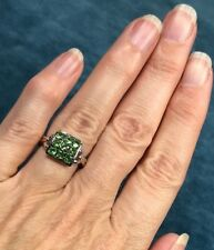 14K White Gold & Tsavorite Garnet Ring. Vivid Green.--K10L3