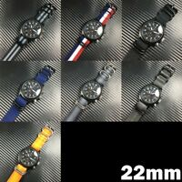 22mm Military Army Washed Leather Nylon Canvas Stripe Wrist Watch Band Straps