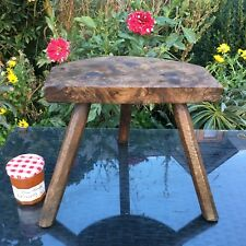 ANTIQUE French OAK Milking Stool 3 Legs HALF MOON Rustic Charming