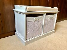 Wicker Storage Bench Hallway Bedroom Bathroom Unit White Drawers Baskets Cushion