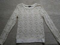 Women's Ivory Lace See Through Top, Size Medium