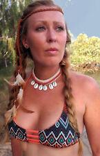 Choker Cowrie Shell Necklace Orange Beads Crochet Adjustable Surf BoHo Kuchi NEW