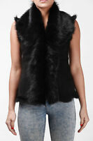 Black Ladies Women's Soft Real Toscana Sheepskin Leather Gilet Waistcoat
