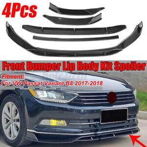 Carbon Black Front Bumper Lip Body Kit Spoiler For VW Passat Variant B8 2017-18