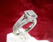 925 STERLING SILVER .40 CTW DIAMOND CLUSTER ENGAGEMENT FILIGREE RING SIZE 7.25