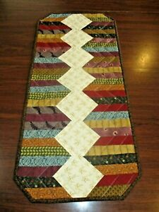 """Hand Made Quilted Table Runner/ Topper /Mat ~12"""" x 27"""" ~ Multi Colors"""