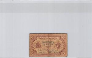 Chambre de Commerce Bougie - Sétif 50 Centimes 17.4.1915 Série 22 n° 00343