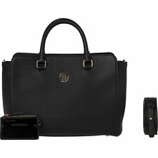 TOMMY HILFIGER TH Signature Strap Satchel Black