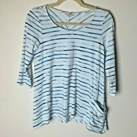 J. Jill Pure Jill Women's Top Size XS Petite 3/4 Sleeves Blue White Stripes