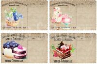 Set of FOUR French Pasteries 2 Ephemera Postcard 3.5x5 Craft Quilt Cotton Fabric