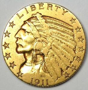 """1911-S Indian Gold Half Eagle $5 Coin - AU Details - Rare """"S"""" Mint!"""