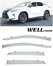 For 16-Up RX350 RX450h WellVisors Clip-On Side Window Visors W/ Chrome Trim