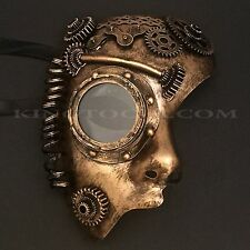 Black Gold Steampunk Half Face Prom Costume Masquerade Party Mask